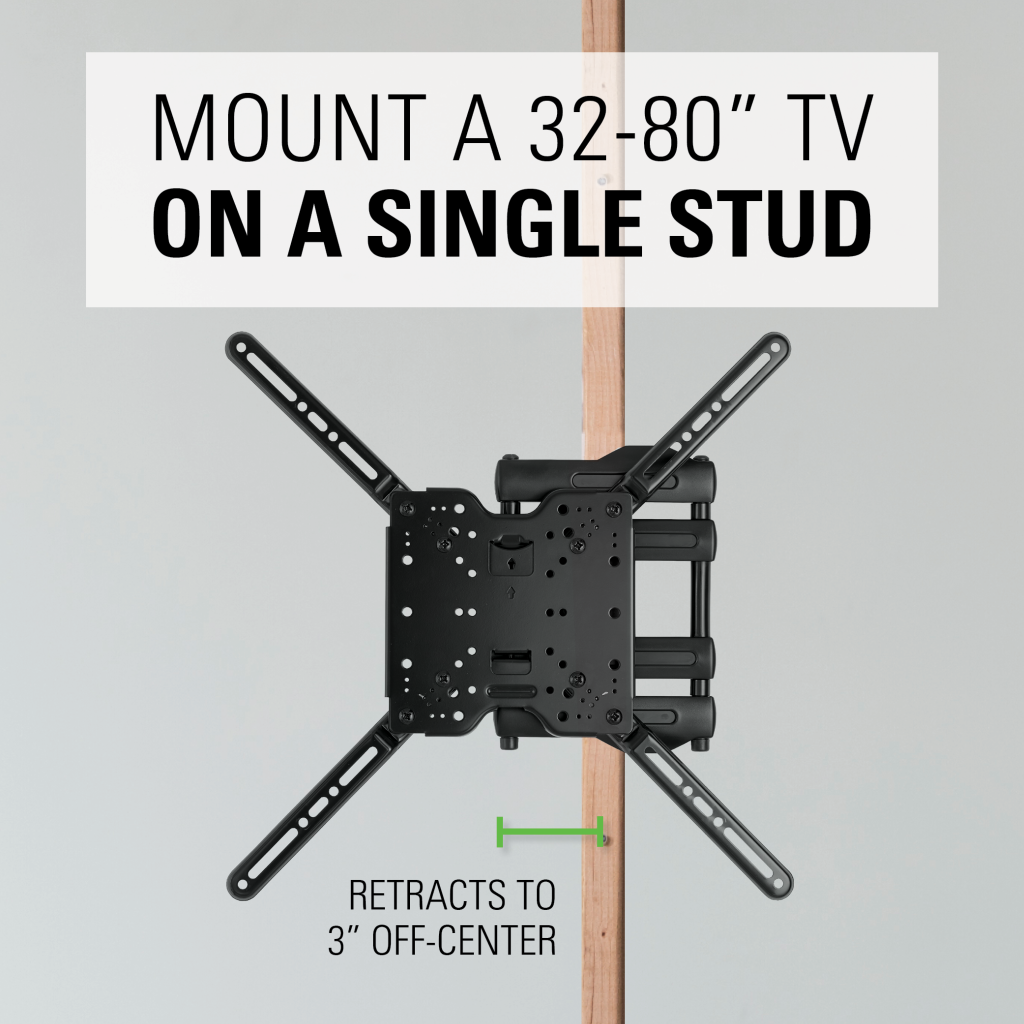 Single stud tv wall mount -  Single Stud Compatibility Ideal For Corner Mounting