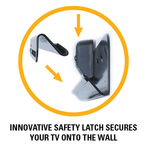 Innovative safety latch secures your tv onto the wall